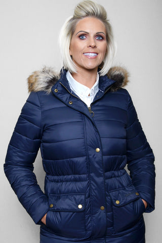 Barbour Ladies Redpoll Quilt Jacket - Navy - LQU0975NY71 - Modelled Front