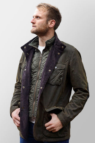 Barbour Ogston Wax Jacket - Olive - MWX0700OL51 - Modelled Front View Open