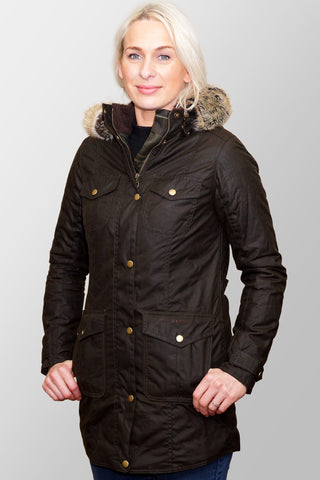 BARBOUR ASHBRIDGE WAX PARKA JACKET - OLIVE - LWX0751OL71 - Modelled Front