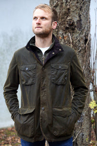 Barbour Ogston Wax Jacket - Olive - MWX0700OL51 - Modelled Front View Closed