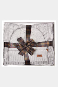Barbour Cable Hat and Scarf Set - Ice White - LAC0142GY11 - Packaged Giftset