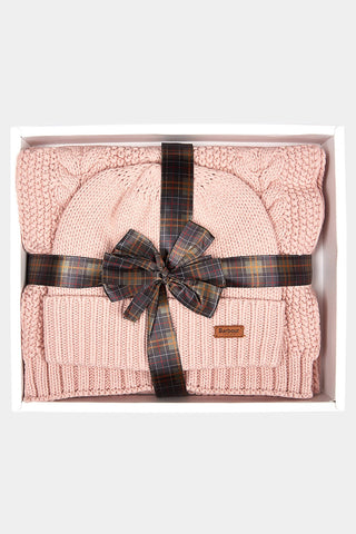 Barbour Cable Hat and Scarf Set - Pink - LAC0142PI15 - Packaged Giftset