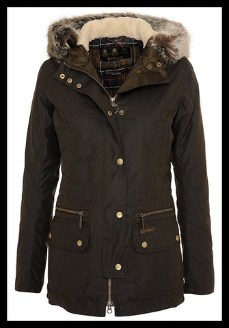 Barbour Kelsall Ladies Olive Green Wax Jacket winter Parka style