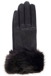 Barbour Glove-Fur Trim-Black Leather-LGL0043BK11