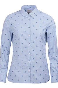 Barbour Shirt -Ladies Malvern-Navy-Horse Print-Pale Blue-LSH1176BL15 horse print