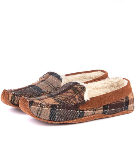 Barbour Betsy Slippers Moccasins in Camel Tartan LSL0002BE11