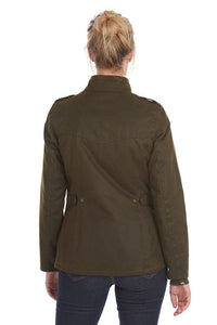 Barbour Winter Defence-Ladies Wax jacket-Olive Green-LWX1066OL51 back