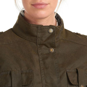 Barbour Winter Defence-Ladies Wax jacket-Olive Green-LWX1066OL51 collar