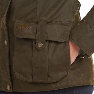 Barbour Winter Defence-Ladies Wax jacket-Olive Green-LWX1066OL51 side pocket