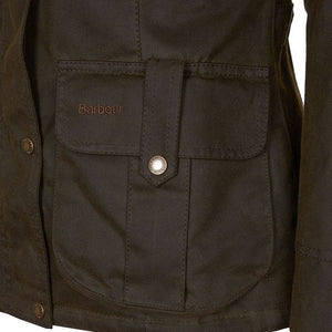 Barbour Winter Defence-Ladies Wax jacket-Olive Green-LWX1066OL51 logo