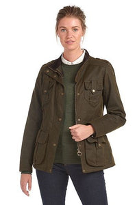 Barbour Winter Defence-Ladies Wax jacket-Olive Green-LWX1066OL51 open