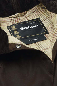 Barbour Stockman Long Wax Coat - Rustic Brown - MWX0006BR71 - Label Detail