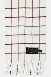 Barbour Tattersall Lambswool Scarf - Cream/Red - USC0009CR11 - Check & Label Detail