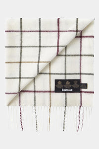 Barbour Tattersall Lambswool Scarf - Cream/Red - USC0009CR11 - Folded View