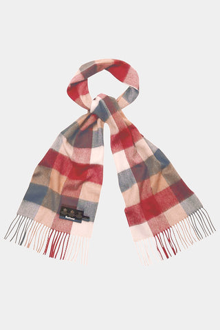 Barbour Large Tattersall Lambswool Scarf - Camel/Red - USC0005CM11 - Looped View