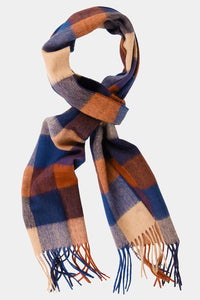 Barbour Large Tattersall Lambswool Scarf - Navy/Camel - USC0005NY11 - Looped View