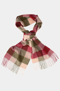 Barbour Large Tattersall Lambswool Scarf - Olive/Burgundy - USC0005OL12 - Looped View