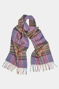 Barbour Scarf Dunnock Lambswool - Lilac Multi Plaid - LSC0218PU51 - Looped View