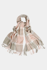 Barbour Hailes Tartan Wrap Scarf - Pink/Grey - LSC0183PI11 - Looped View