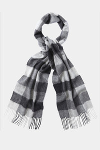 Barbour Large Tattersall Lambswool Scarf - Charcoal Grey - USC0005CH11 - Looped View
