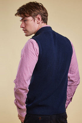 Essential Barbour gilet knitted back.