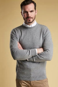 Barbour Sweater-Pima Cotton-Crew Neck-Grey Marl-MKN0932GY51