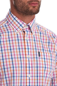 Barbour Shirt-Tattersall15-Tailored Fit-Orange Check-MSH4683OR32 collar