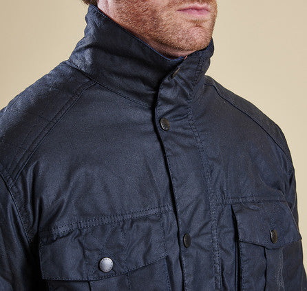 Barbour Winter Utility wax jacket in Navy MWX0903NY92 storm collar