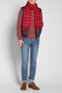 Barbour Tartan Lambswool Scarf - Cardinal Red - USC0001TN12 - Modelled