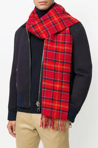 Barbour Tartan Lambswool Scarf - Cardinal Red - USC0001TN12 - Modelled Men