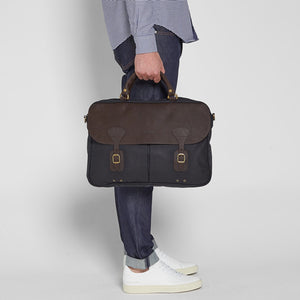 Barbour Briefcase Wax Leather - Navy - UBA0004NY91 - Modelled Side