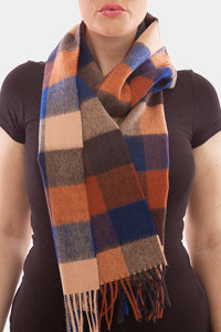 Barbour Large Tattersall Lambswool Scarf - Navy/Camel - USC0005NY11 - Modelled