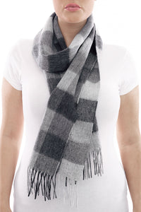 Barbour Large Tattersall Lambswool Scarf - Charcoal Grey - USC0005CH11 - Modelled
