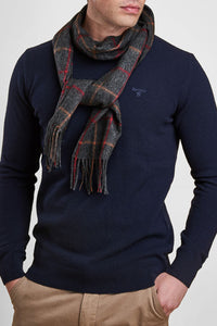 Barbour Scarf-Tattersall Lambswool Scarf - Charcoal/Red - USC0009CH11