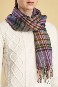 Barbour Scarf Dunnock Lambswool - Lilac Multi Plaid - LSC0218PU51 - Modelled