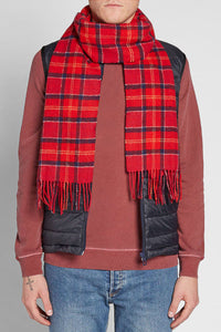 Barbour Tartan Lambswool Scarf - Red Cardinal - USC0001TN12 - Modelled