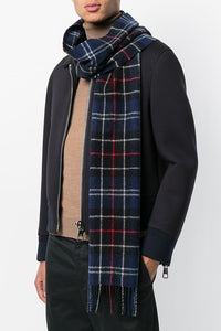 Barbour Tartan Lambswool Scarf - Navy/Red - USC0001NY11 - Modelled
