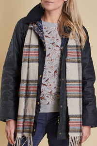 Barbour Scarf Abraham Moons Country Check - Cream - LSC0137CR11 - Modelled