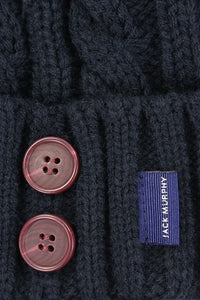 Jack Murphy Blessignton Bobble Hat - Heritage Navy - 026701 - Buttons & Label Detail