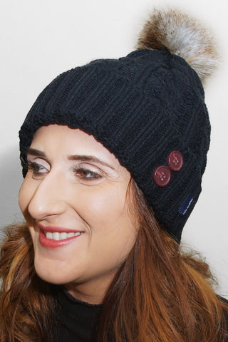 Jack Murphy Blessignton Bobble Hat - Heritage Navy - 026701 - Modelled Front