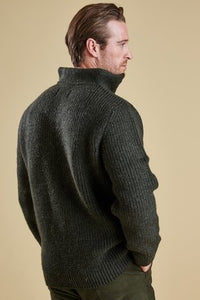 Barbour Sweater-New Tyne-chunky knit-Half Zip-Olive-MKN0790OL51 back