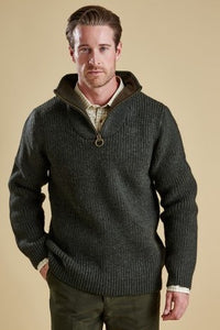 Barbour Sweater-New Tyne-chunky knit-Half Zip-Olive-MKN0790OL51