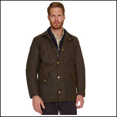 Barbour Prestbury Mens wax jacket in Olive beard