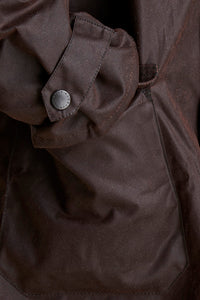 Barbour Stockman Long Wax Coat - Rustic Brown - MWX0006BR71 - Pocket & Cuff Detail