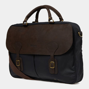 Barbour Briefcase Wax Leather - Navy - UBA0004NY91 - Profile View