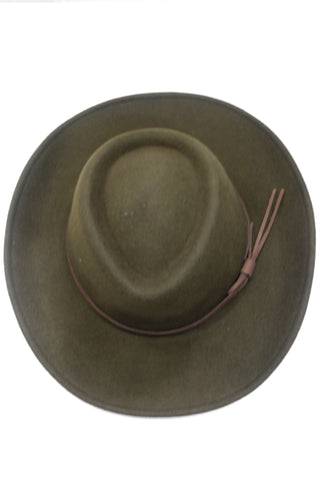 Perth Chrushable Bushman Felt Hat by Hoggs of Fife in Olive Green BOST/OL
