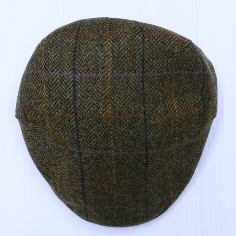Barbour Cap-Moons Tweed Flat Cap-Olive Herringbone-MHA0295OL55 front