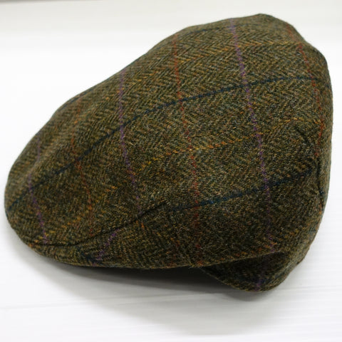 Barbour Cap-Moons Tweed Flat Cap-Olive Herringbone-MHA0295OL55