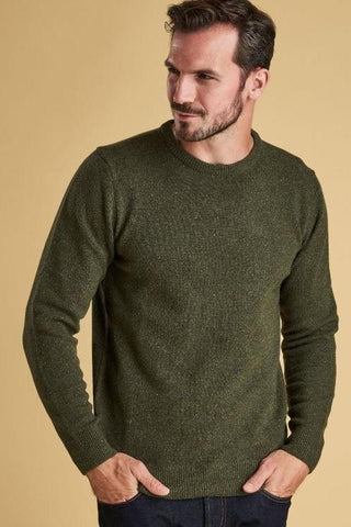 Barbour Sweater-Tisbury Crew Neck-Forest Green-MKN0844GN91