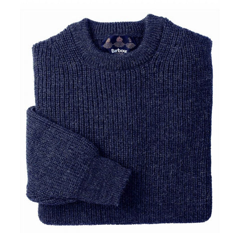 Barbour Tyne crew neck mens chunky wool sweater in dark navy